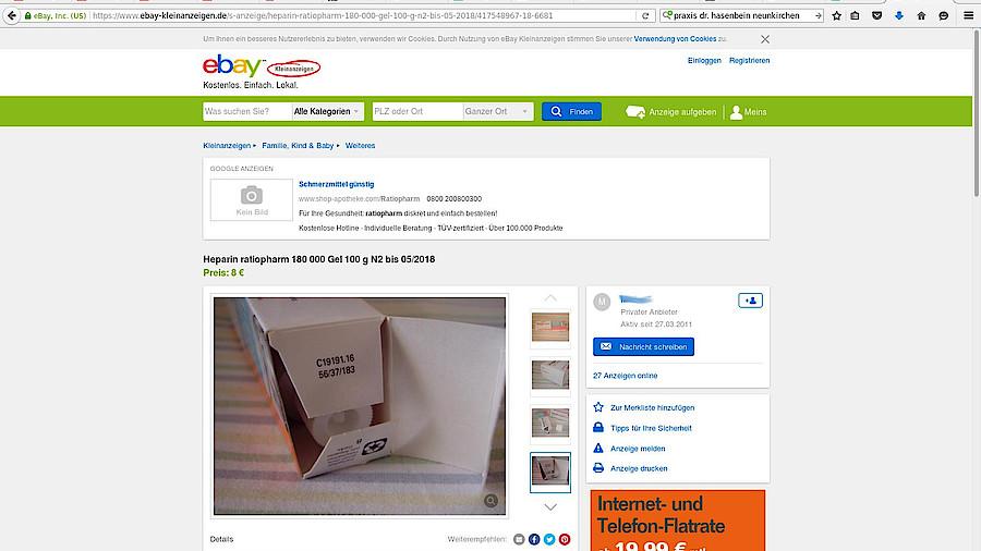 32d12614bf067 Ebay  Angebrochene Tube